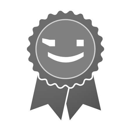 wink: Illustration of an isolated award badge with  a wink text face emoticon