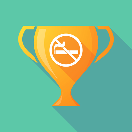 abstain: Illustration of a long shadow award cup icon with  a no smoking sign Illustration