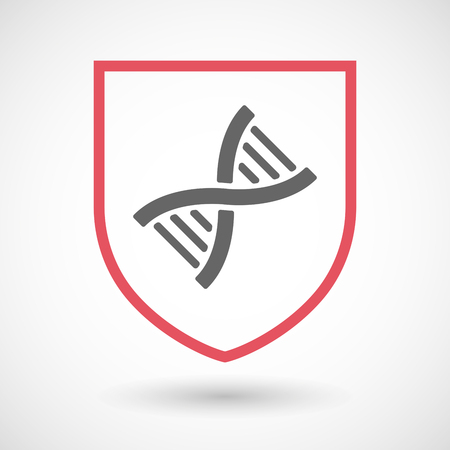 Illustration of an isolated line art shield icon with a DNA sign