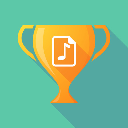 music score: Illustration of a long shadow award cup icon with  a music score icon