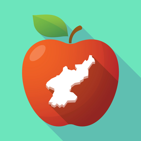 korea food: Illustration of a long shadow red apple icon with  the map of North Korea Illustration