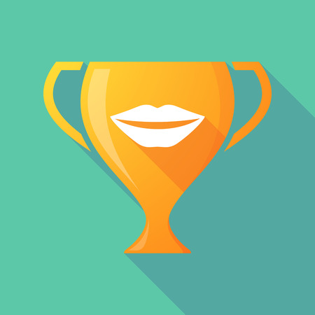 long mouth: Illustration of a long shadow award cup icon with  a female mouth smiling Illustration