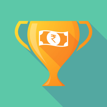 bank note: Illustration of a long shadow award cup icon with  a rupee bank note icon