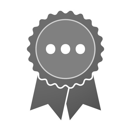 orthographic: Illustration of an isolated award badge with  an ellipsis orthographic sign