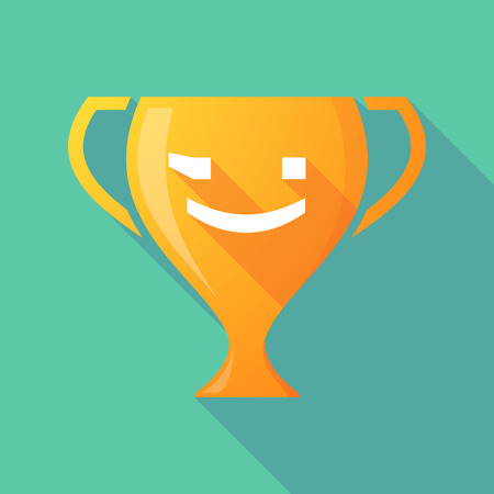 wink: Illustration of a long shadow award cup icon with  a wink text face emoticon Illustration
