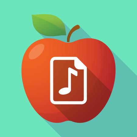 partition musique: Illustration d'une pomme rouge ic�ne longue ombre avec une ic�ne de partition