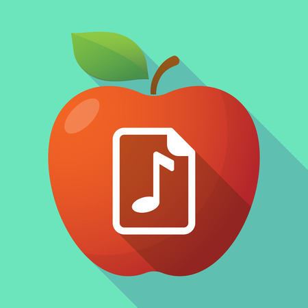 music score: Illustration of a long shadow red apple icon with  a music score icon