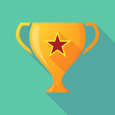 communism: Illustration of a long shadow award cup icon with  the red star of communism icon