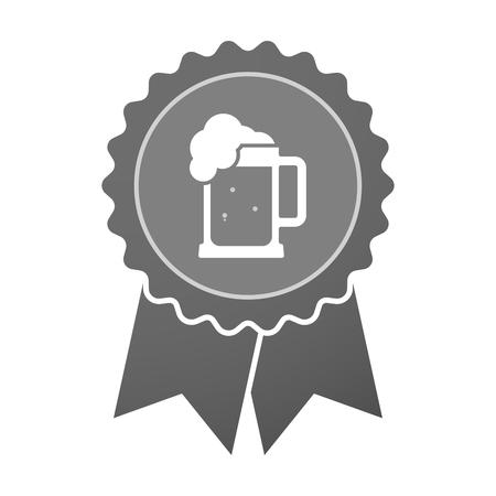 tarro cerveza: Ilustración de un hecho aislado insignia premio con un icono de jarra de cerveza Vectores