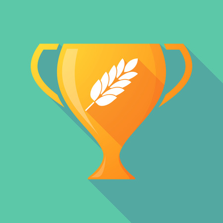 celiac: Illustration of a long shadow award cup icon with  a wheat plant icon