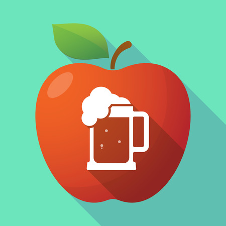 beer jar: Illustration of a long shadow red apple icon with  a beer jar icon