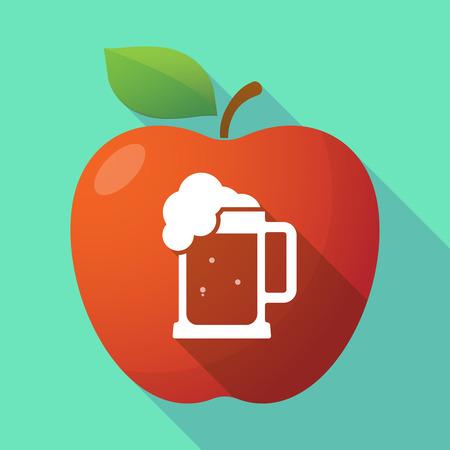 tarro cerveza: Ilustración de un icono de la manzana roja larga sombra con un icono de jarra de cerveza