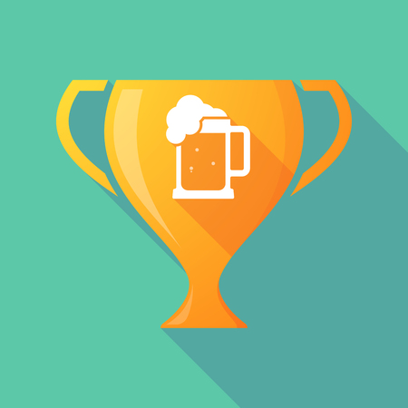 beer jar: Illustration of a long shadow award cup icon with  a beer jar icon Vectores