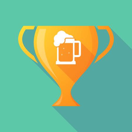 tarro cerveza: Ilustración de un icono de la taza premio larga sombra con un icono de jarra de cerveza