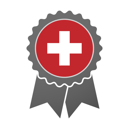 swiss flag: Illustration of an isolated award badge with   the Swiss flag