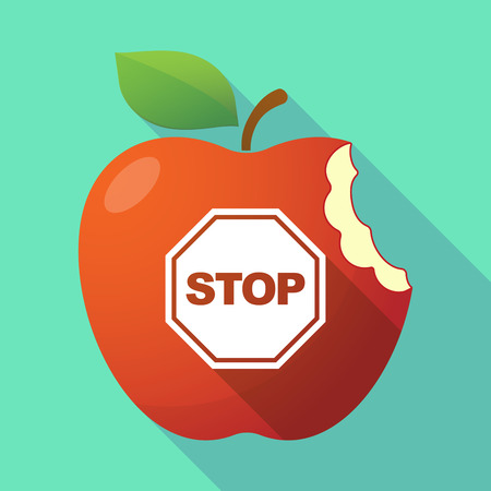 stop signal: Illustration of a long shadow red apple icon with  a stop signal