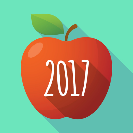 dates fruit: Illustration of a long shadow red apple icon with  a 2017 year  number icon