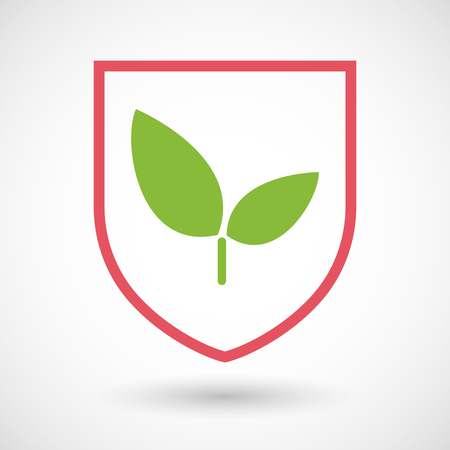 protected plant: Illustration of an isolated line art shield icon with a plant