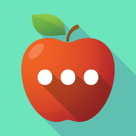 rumor: Illustration of a long shadow red apple icon with  an ellipsis orthographic sign