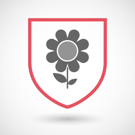 protected plant: Illustration of an isolated line art shield icon with a flower Illustration