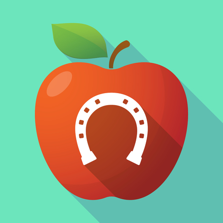 rein: Illustration of a long shadow red apple icon with  a horseshoe sign
