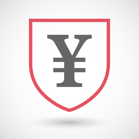 yen sign: Illustration of an isolated line art shield icon with a yen sign