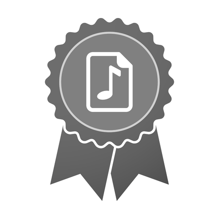 music score: Illustration of an isolated award badge with  a music score icon