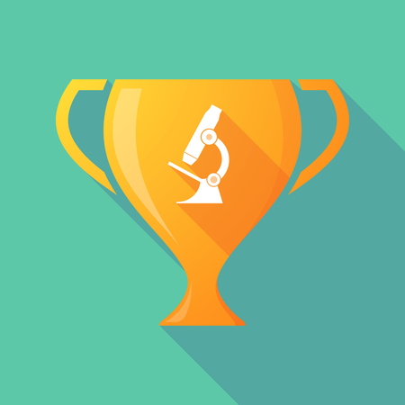 microscope lens: Illustration of a long shadow award cup icon with  a microscope icon Illustration