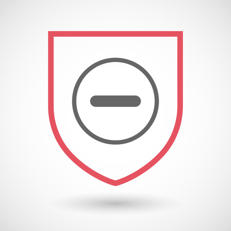 subtraction: Illustration of an isolated line art shield icon with a subtraction sign