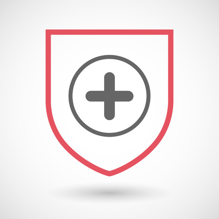 subtract: Illustration of an isolated line art shield icon with a sum sign Illustration