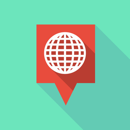 tooltip: Illustration of a long tooltip icon with a world globe