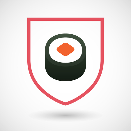 art piece: Illustration of an isolated line art shield icon with a piece of sushi maki