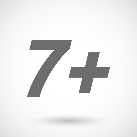 approval rate: Isolated vector illustration of    the text 7+