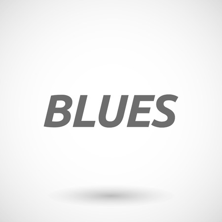 blues: Isolated vector illustration of    the text BLUES Illustration