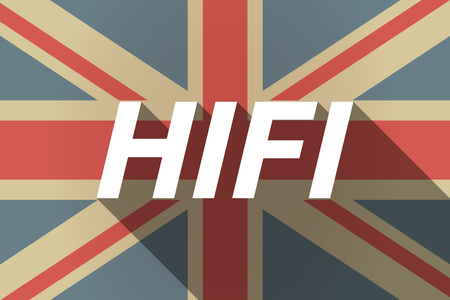 fidelity: Illustration of a long shadow UK flag with    the text HIFI