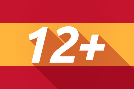 number 12: Illustration of a long shadow Spain flag with    the text 12+