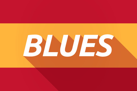 blues: Illustration of a long shadow Spain flag with    the text BLUES Illustration