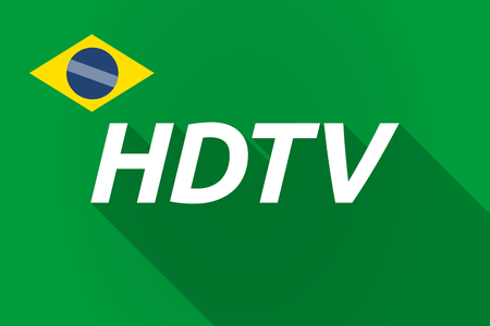 hdtv: Illustration of a long shadow Brazil flag with    the text HDTV