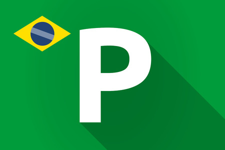valet: Illustration of a long shadow Brazil flag with    the letter P Illustration