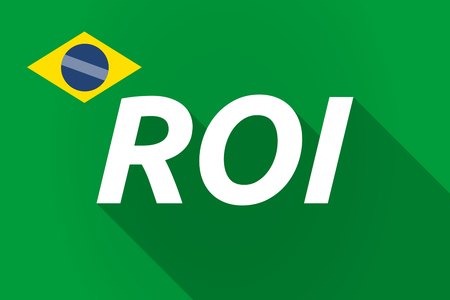 return: Illustration of a long shadow Brazil flag with    the return of investment acronym ROI