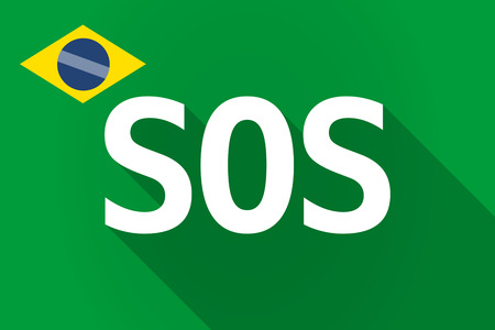 salvation: Illustration of a long shadow Brazil flag with    the text SOS Illustration