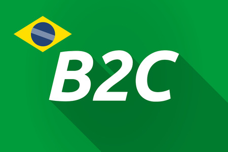 b2c: Illustration of a long shadow Brazil flag with    the text B2C Illustration