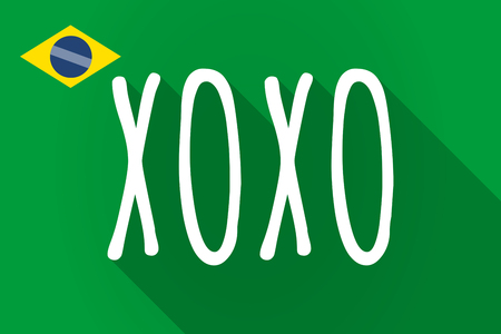 xoxo: Illustration of a long shadow Brazil flag with    the text XOXO