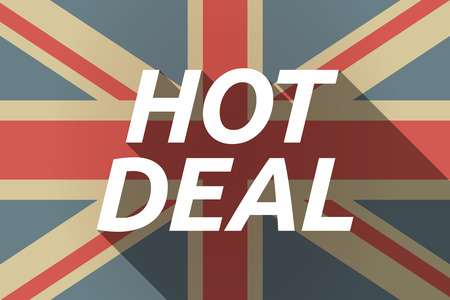 bargaining: Illustration of a long shadow UK flag with    the text HOT DEAL