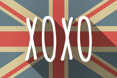 xoxo: Illustration of a long shadow UK flag with    the text XOXO