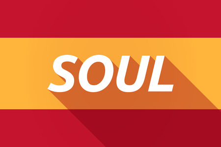 soul music: Illustration of a long shadow Spain flag with    the text SOUL