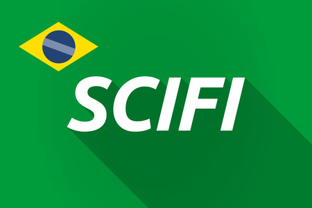 speculative: Illustration of a long shadow Brazil flag with    the text SCIFI Illustration