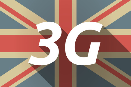 3g: Illustration of a long shadow UK flag with    the text 3G Illustration
