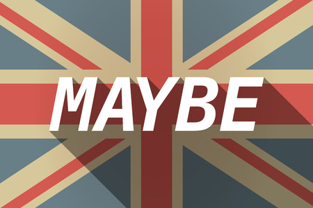 maybe: Illustration of a long shadow UK flag with    the text MAYBE
