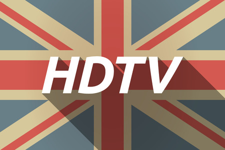 hdtv: Illustration of a long shadow UK flag with    the text HDTV